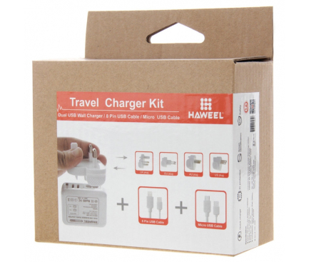 Incarcator retea MicroUSB - Lightning cu adaptori EU-UK-USA-AUS Haweel Travel 2 x USB Alb Blister Original