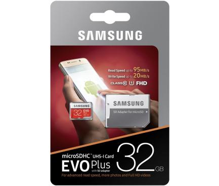 Card memorie MicroSDHC Samsung EVO Plus cu adaptor 32GB Clasa 10 UHS-1 MB-MC32GA/EU