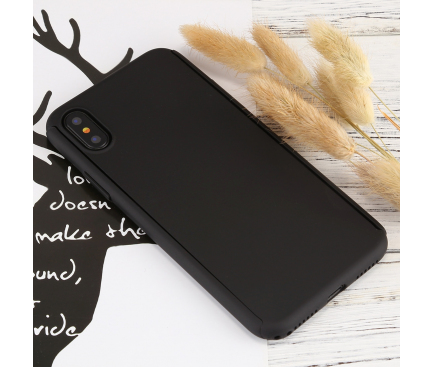 Pachet promotional Husa plastic + Folie Ecran Tempered Glass Apple iPhone X / Apple iPhone XS
