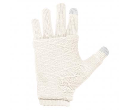 Manusi iarna Touchscreen Sensitive Fingerless albe