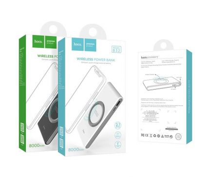Baterie externa Powerbank cu incarcare wireless HOCO Energetic B32 8000mA Blister Originala