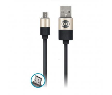 Cablu Date si Incarcare USB la MicroUSB Forever Modern 2A, 1 m, Negru, Blister