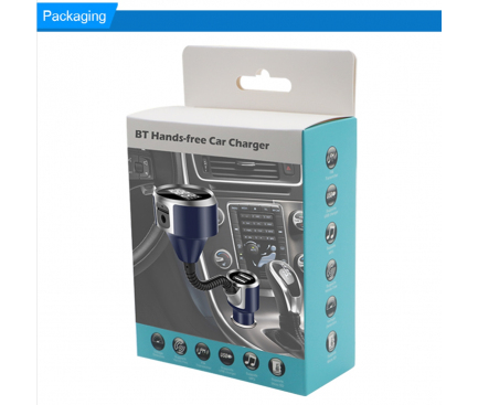 Emitator FM Bluetooth si MP3 Player AUTO cu 2 x USB Albastru Blister