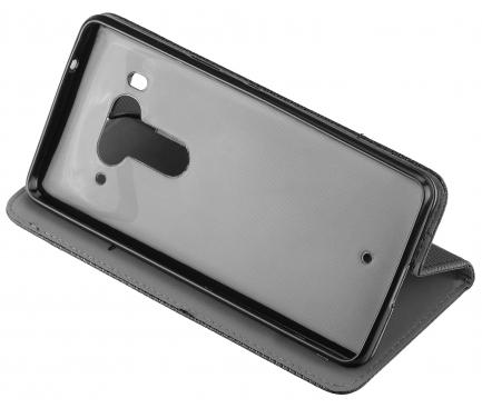 Husa Piele OEM Smart Magnet pentru HTC U12+, Neagra, Bulk