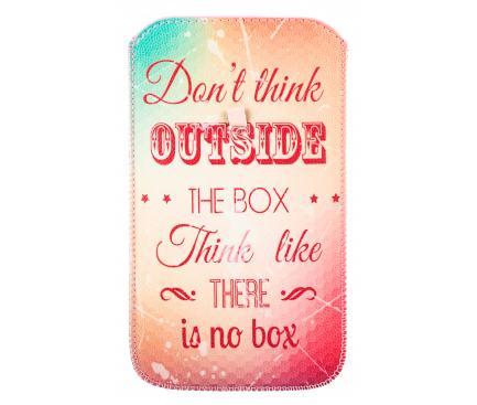Husa Piele GreenGo Universala Don't think outside XXXXL pentru Telefon 5.5 inci, Multicolor, Bulk