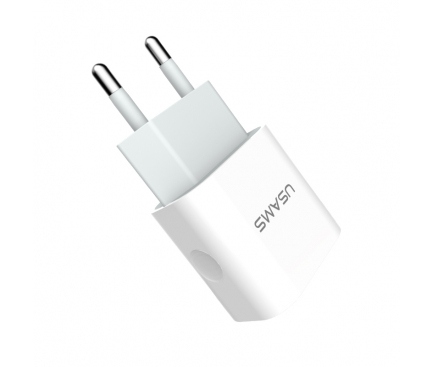 Incarcator Retea cu cablu Lightning Usams, 2.4A, 2 X USB, Alb, Blister