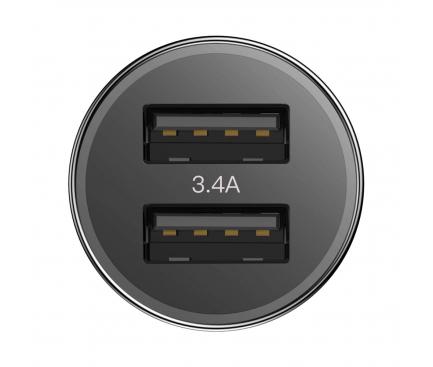 Incarcator Auto cu cablu Lightning Baseus TZXLD-A01, 2 X USB, Negru, Blister