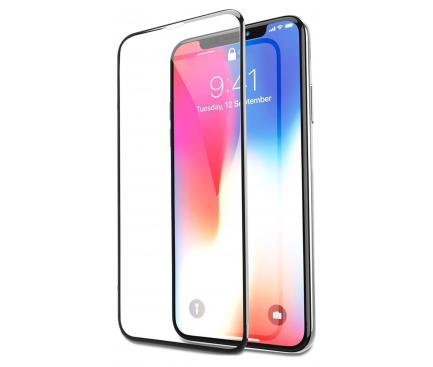 Folie Protectie Ecran Soultech pentru Apple iPhone XS, Sticla securizata, Full Face, Platinum EK807S, Neagra, Blister