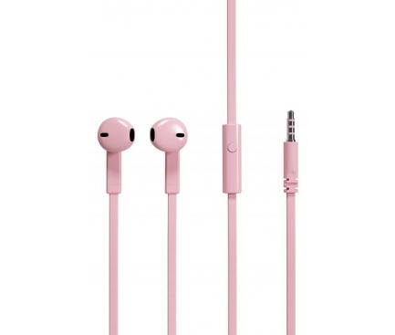 Handsfree Casti EarBuds Soultech Comfort Strong Flat, KK007KH, Cu microfon, 3.5 mm, Roz, Blister