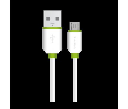 Cablu Date si Incarcare USB la MicroUSB Soultech Comfort DK033B, 1 m, Alb, Blister