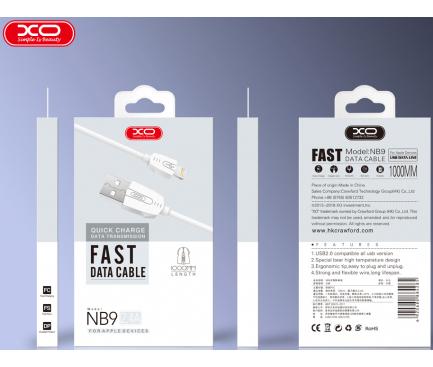 Cablu Date si Incarcare USB la MicroUSB XO Design NB9, 2.4A, 2 m, Alb, Blister