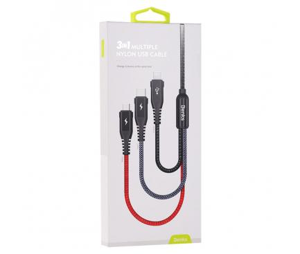 Cablu Incarcare USB la Lightning - USB la MicroUSB - USB la USB Type-C Benks, 1.5 m, Negru, Blister