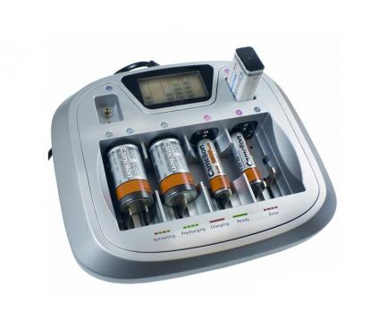 Incarcator priza Camelion CM-3298 pentru Baterii reincarcabile AA / AAA/  C R14 / D R20 (8 sloturi), 1 X USB, Negru, Blister