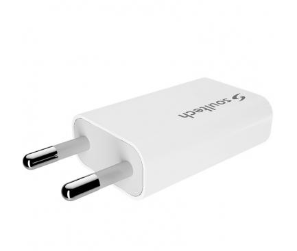 Incarcator Retea cu cablu MicroUSB Soultech Platinum SC103B 1.5A, 1 X USB, Alb, Blister