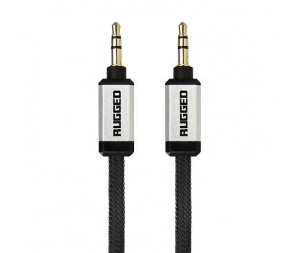 Cablu Audio 3.5 mm la 3.5 mm Gecko RUGGED Flat Cable, 1 m, Negru, Blister GG100071