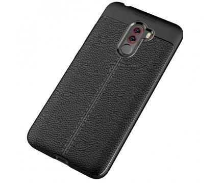 Husa TPU OEM Litchi pentru Xiaomi Pocophone F1, Neagra, Bulk