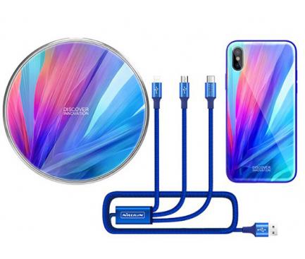 Pachet promotional Nillkin Incarcator Wireless QC MC034  + Cablu USB 3 in 1 + Husa plastic pentru Apple Iphone X, Albastru, Blister