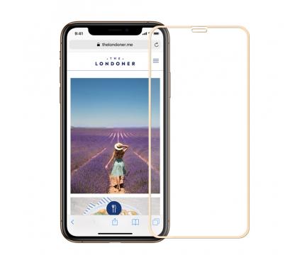 Folie Protectie Ecran Mofi pentru Apple iPhone X / Apple iPhone XS, Sticla securizata, Full Face, Edge Glue, Explosion-Proof, Aurie, Blister