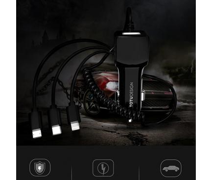 Incarcator Auto cu fir Lightning - MicroUSB - USB Tip-C Totu Design, 1.5m, 1 x USB, Negru, Blister