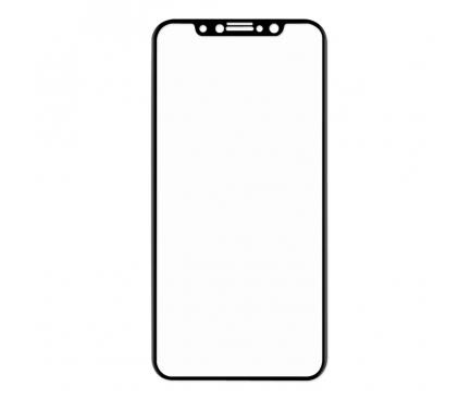 Folie Protectie Ecran Enkay pentru Apple iPhone X / Apple iPhone XS, Sticla securizata, Full Face, Full Glue, Carbon, Neagra, Set 5 buc., Blister