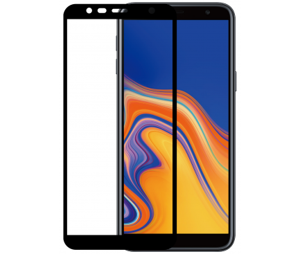 Folie Protectie Ecran WZK pentru Samsung J4 Plus (2018) J415, Sticla securizata, Full Face, Full Glue, Neagra, Blister