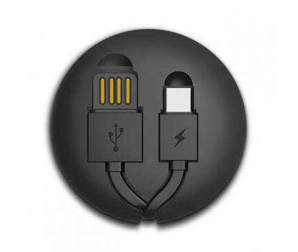 Cablu Date si Incarcare USB la USB Type-C Remax RC-099A Cutebaby, Retractabil, 1 m, Negru, Blister
