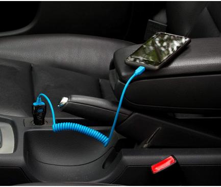 Incarcator Auto cu fir MicroUSB iGO PS00308-0002, 1A, 1 X USB, Bleumarin - Negru, Blister