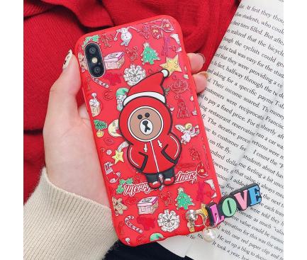 Husa TPU OEM Christmas Bear pentru Apple iPhone X / Apple iPhone XS, Rosie, Bulk