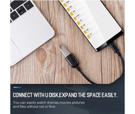 Adaptor OTG USB la USB Type-C Rock, 0.1 m, Negru, Blister