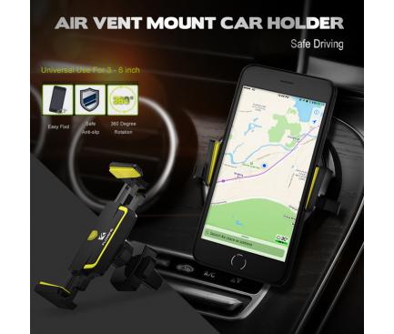 Suport Auto Universal Floveme pentru Vent Mount, Galben - Negru, Blister