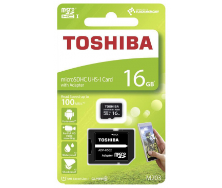 Card Memorie MicroSDHC Toshiba. Cu adaptor, 16Gb, Clasa 10 - UHS-1 U1, Blister