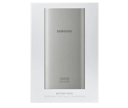 Baterie Externa Powerbank Samsung USB Type-C 10000mA Fast Charging, 2 x USB, Argintie, Blister EB-P1100CSEGWW