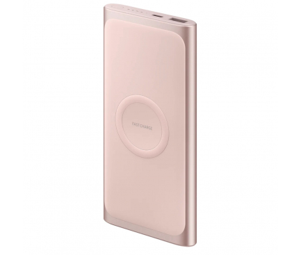 Baterie Externa Powerbank Samsung Cu incarcare Wireless, 10000 mA, 1 x USB, Roz, Blister EB-U1200CPEGWW