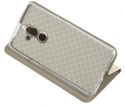 Husa Piele OEM Smart Magnet pentru Samsung Galaxy A7 (2018) A750, Aurie, Bulk