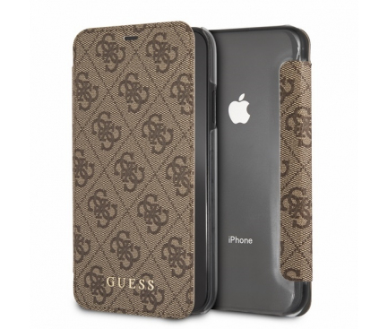 Husa Piele Guess 4G Charms Collection pentru Apple iPhone XS Max, Maro, Blister GUFLBKI65GF4GBR