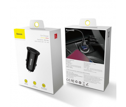 Incarcator Auto USB Baseus QC 3.0, CCALL-YD01, 2 X USB, Negru, Blister