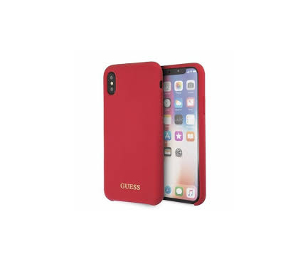 Husa TPU Guess Gold Logo pentru Apple iPhone X / Apple iPhone XS, Rosie, Blister GUHCPXLSGLRE