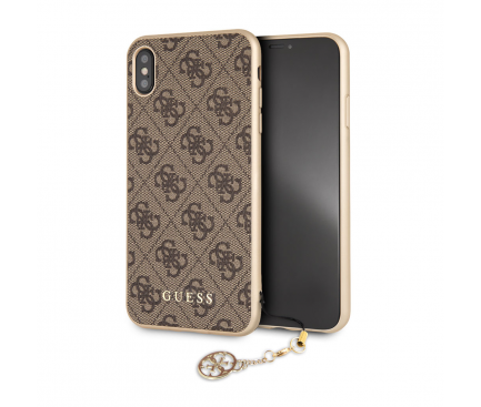 Husa TPU Guess Charms 4G pentru Apple iPhone XS Max, Maro, Blister GUHCI65GF4GBR