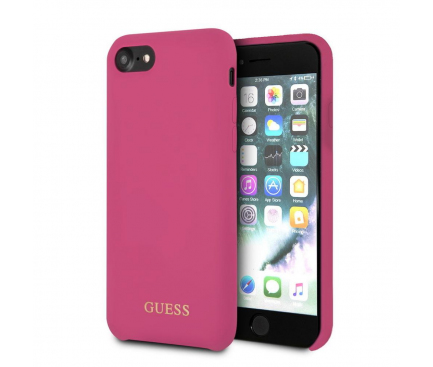 Husa TPU Guess Logo pentru Apple iPhone 7 Plus / Apple iPhone 8 Plus, Roz, Blister GUHCI8LLSGLPI