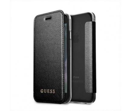 Husa Piele Guess Iridescent pentru Apple iPhone 7 / Apple iPhone 8, Neagra, Blister GUFLBKI8IGLTBK