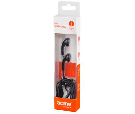 Casti EarBuds Acme, Fara microfon, 3.5 mm, Negru, Blister