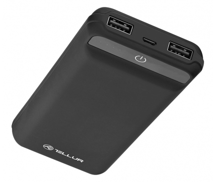 Baterie Externa Powerbank Tellur 20000 mA, 2 x USB, Neagra, Blister TLL158191