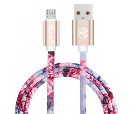 Cablu Date si Incarcare USB la MicroUSB Tellur Graffiti, 1 m, Multicolor, Bulk TLL155302