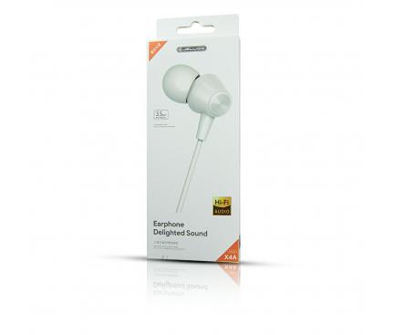 Handsfree Casti In-Ear JELLICO Stereo  X4A, Cu microfon, 3.5 mm, Alb, Blister