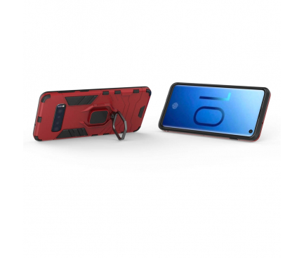 Husa Plastic - TPU OEM Magnetic Ring pentru Samsung Galaxy S10+ G975, Rosie, Bulk