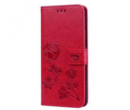 Husa Piele OEM Embossed Roses pentru Huawei Mate 20 Lite, Rosie, Bulk