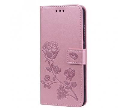 Husa Piele OEM Embossed Roses pentru Huawei Mate 20 Lite, Roz Aurie, Bulk