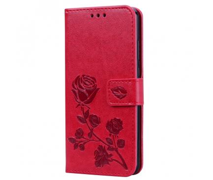 Husa Piele OEM Embossed Roses pentru Huawei P20, Rosie, Bulk