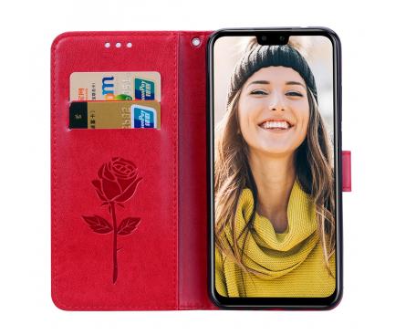 Husa Piele OEM Embossed Roses pentru Huawei Y9 (2019), Rosie, Bulk