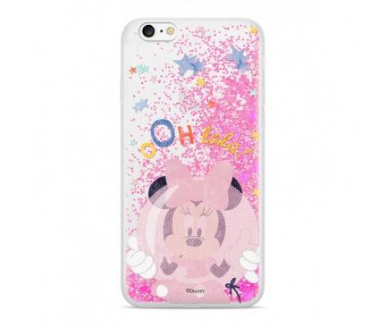Husa TPU Disney Minnie 046 Glitter pentru Apple iPhone 6 / Apple iPhone 6s / Apple iPhone 7 / Apple iPhone 8, Roz, Blister